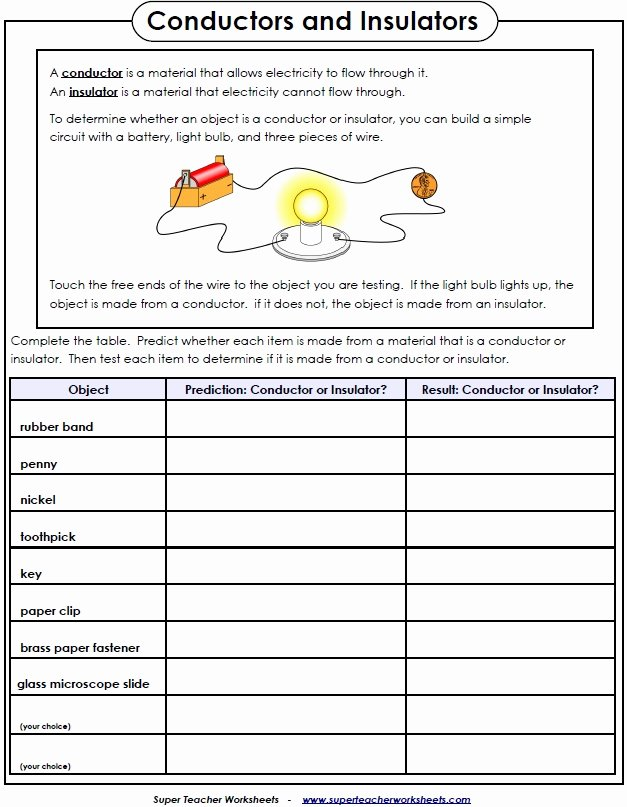 Electrical Power Worksheet Answers Beautiful Electricity Worksheet Conductors and Insulators