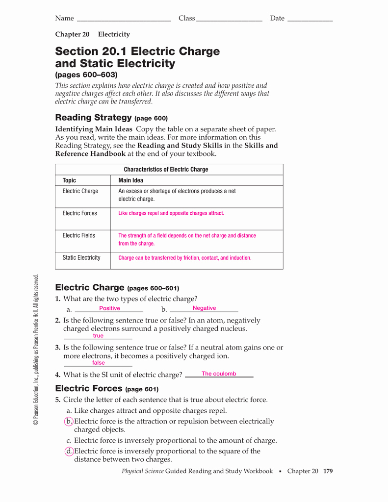 Electrical Power Worksheet Answers Best Of Section 20 1 Electric Charge and Static Electricity