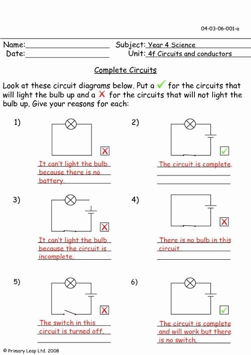 Electrical Power Worksheet Answers Elegant Plete Circuits