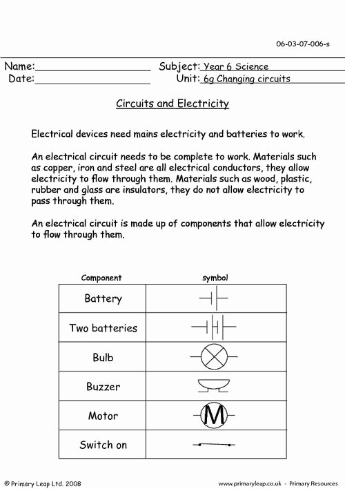 Electrical Power Worksheet Answers Lovely Circuits and Electricity 1