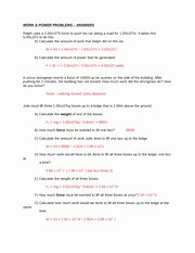 Electrical Power Worksheet Answers Lovely Work and Power Problems Worksheet Work&powerproblems