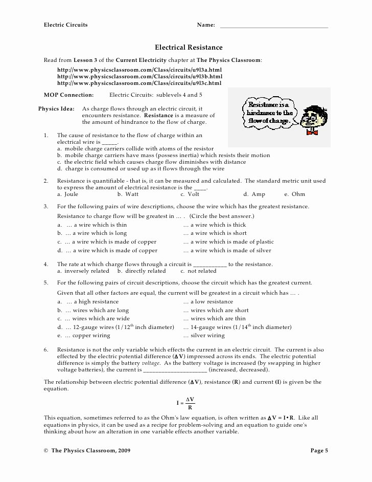 Electrical Power Worksheet Answers Luxury Circuit Worksheets