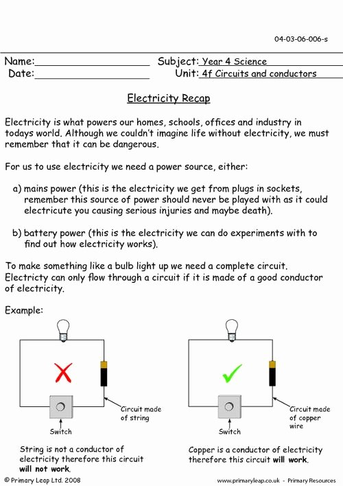 Electrical Power Worksheet Answers New Electricity Recap