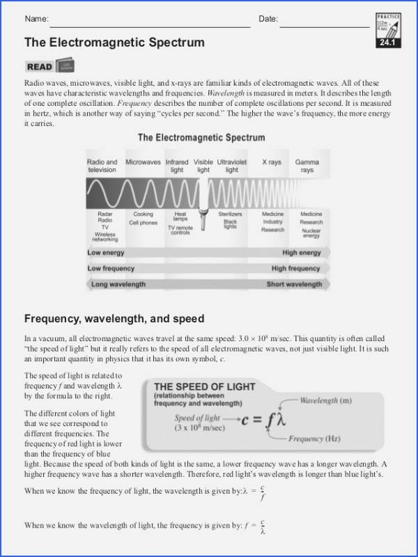 Electromagnetic Spectrum Worksheet Answers Fresh Waves and Electromagnetic Spectrum Worksheet Answers
