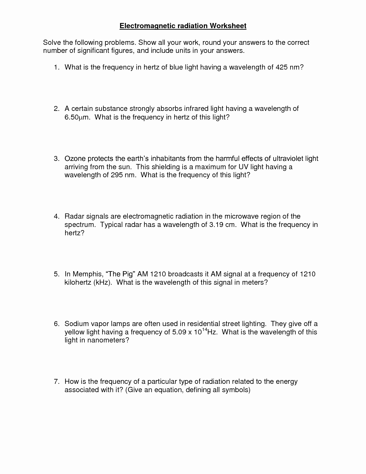 Electromagnetic Spectrum Worksheet Answers Luxury 7 Best Of Visible Light Spectrum Worksheet