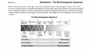 Electromagnetic Spectrum Worksheet High School Luxury astronomy Worksheet the Electromagnetic Spectrum by