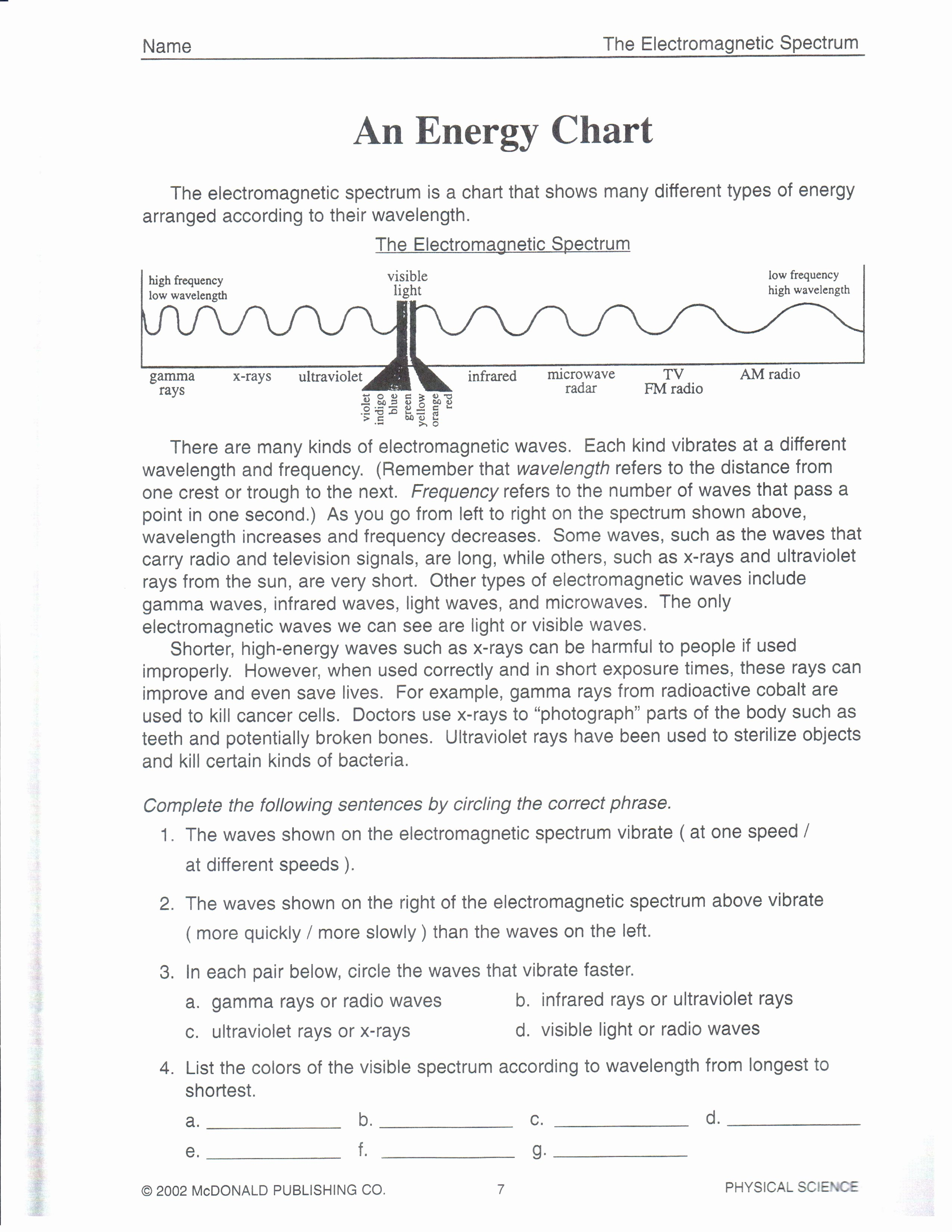 Electromagnetic Waves Worksheet Answers Awesome Worksheet Waves & Electromagnetic Spectrum Worksheet