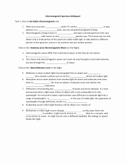 Electromagnetic Waves Worksheet Answers Beautiful Electromagnetic Spectrum Web Quest