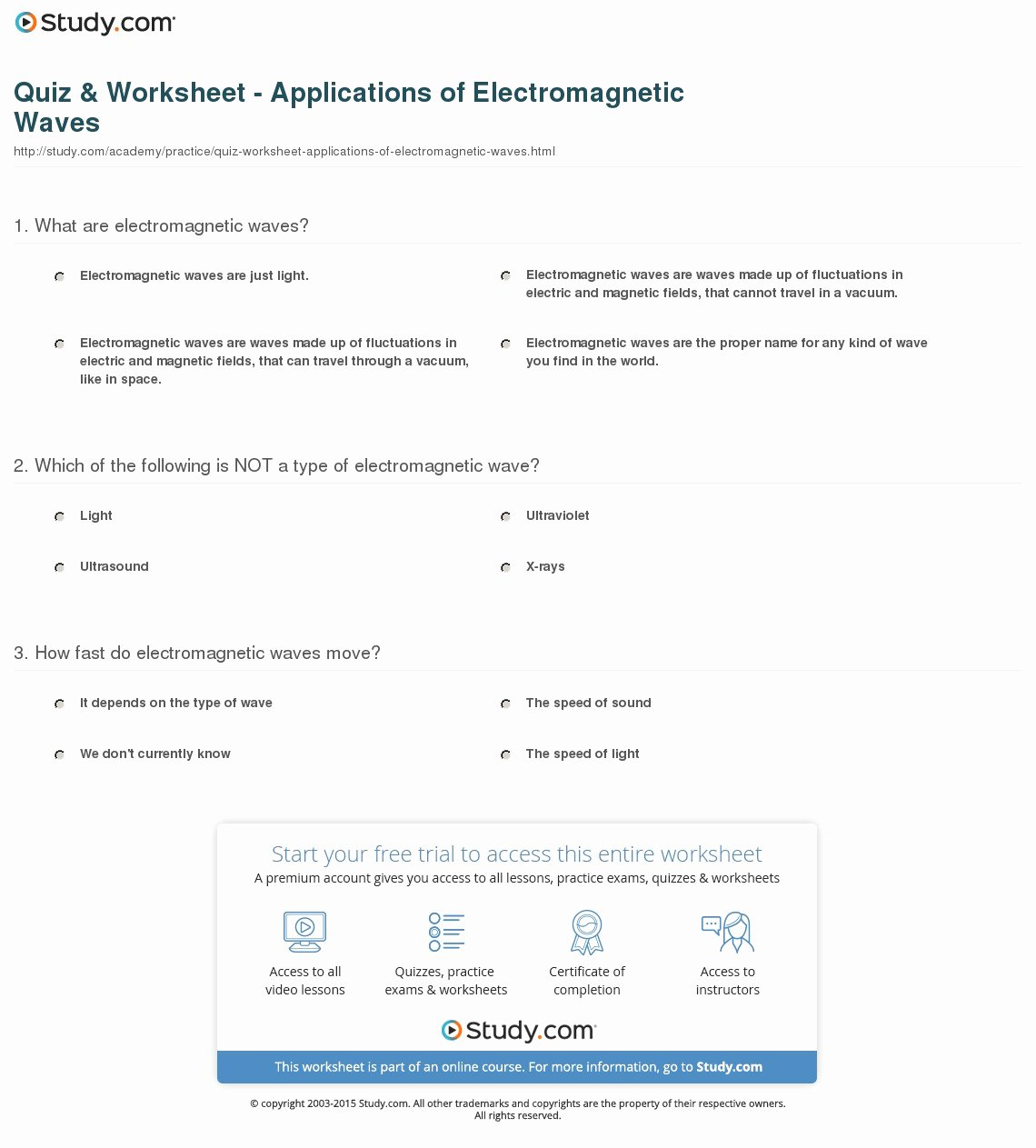 Electromagnetic Waves Worksheet Answers Beautiful Quiz & Worksheet Applications Of Electromagnetic Waves