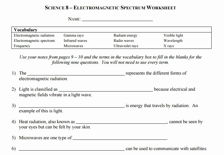 Electromagnetic Waves Worksheet Answers Beautiful Waves and Electromagnetic Spectrum Worksheet Answers