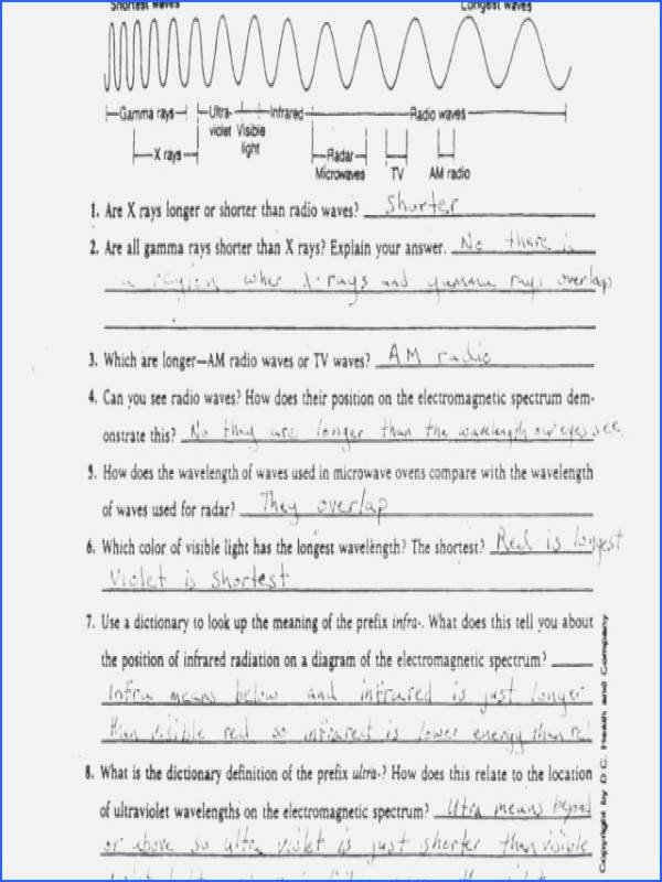 Electromagnetic Waves Worksheet Answers Fresh Electromagnetic Spectrum Worksheet Answers