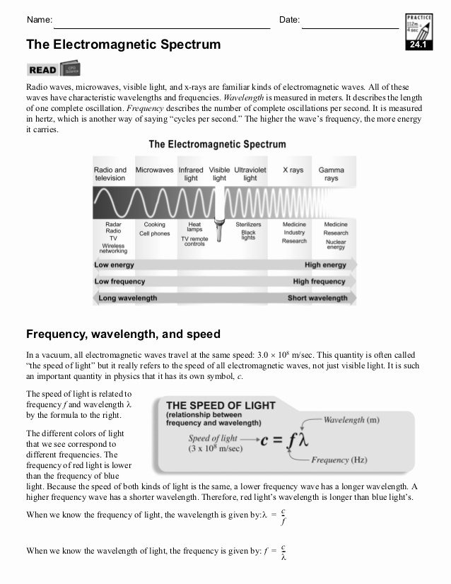 Electromagnetic Waves Worksheet Answers Inspirational Wavelength assignment