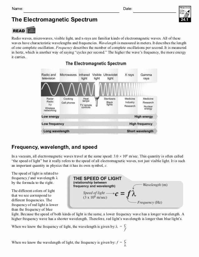 Electromagnetic Waves Worksheet Answers Luxury Waves and Electromagnetic Spectrum Worksheet Answers