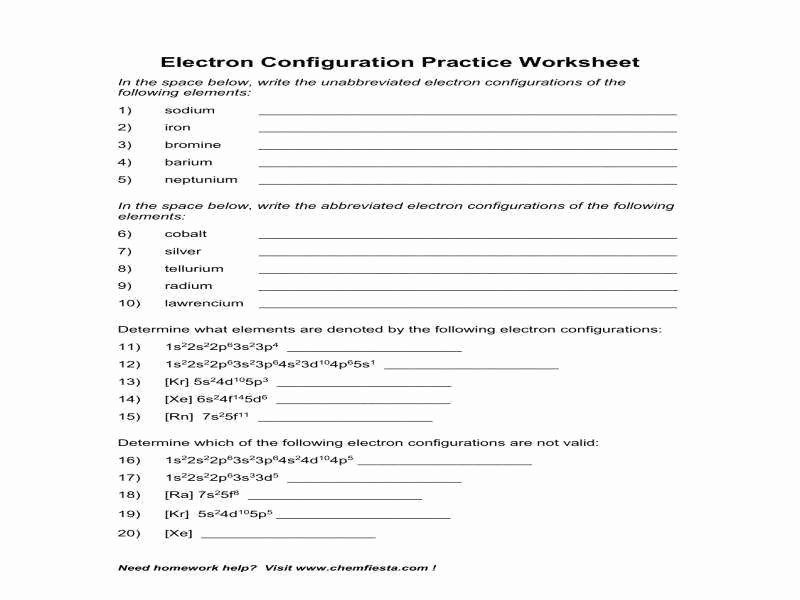 Electron Configuration Practice Worksheet Elegant Electron Configuration Worksheet Answer Key