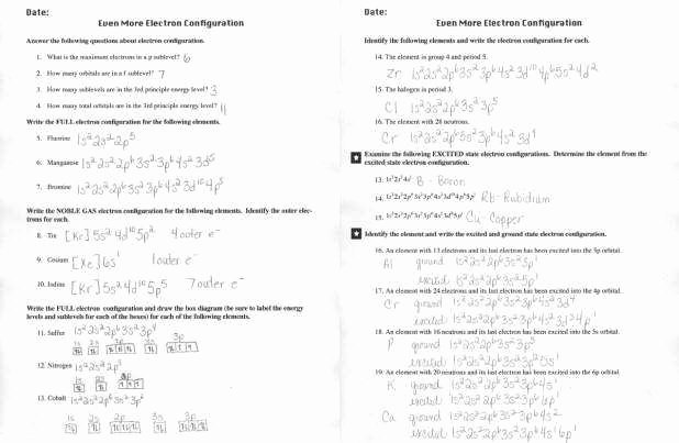 Electron Configuration Worksheet Answers Awesome Electron Configuration Worksheet Answers