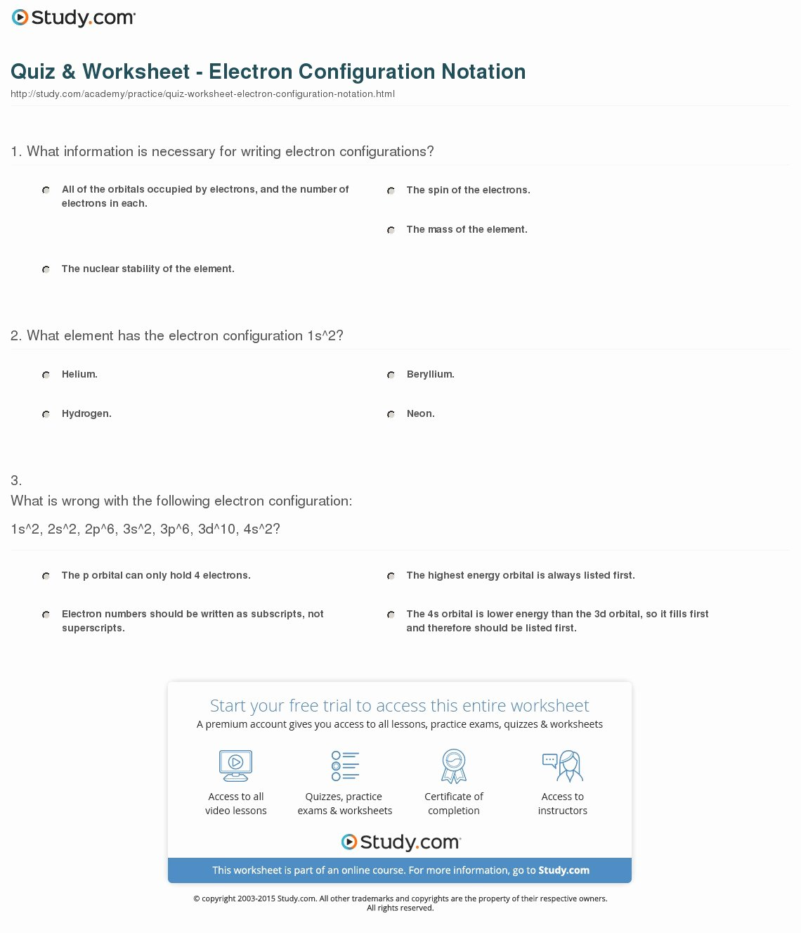 Electron Configuration Worksheet Answers Awesome Quiz & Worksheet Electron Configuration Notation