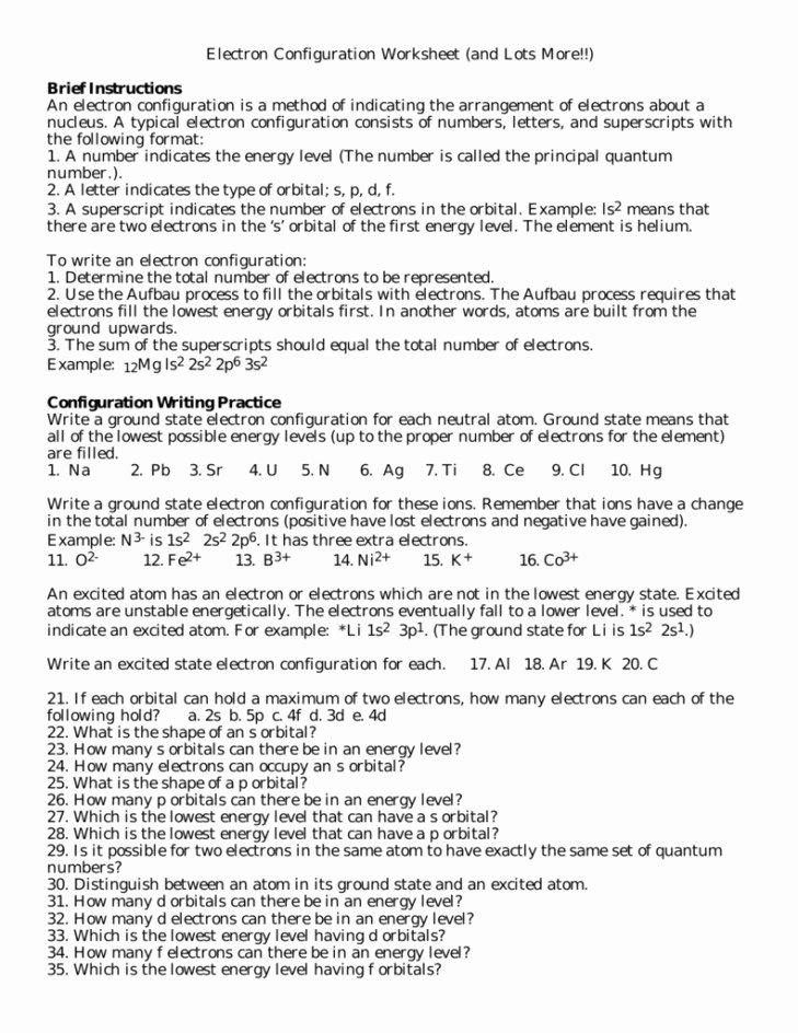 Electron Configuration Worksheet Answers Inspirational Electron Configuration Worksheet Answers