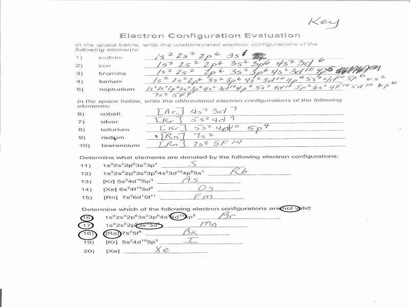 Electron Configuration Worksheet Answers Key Fresh Electron Configuration Worksheet Answer Key