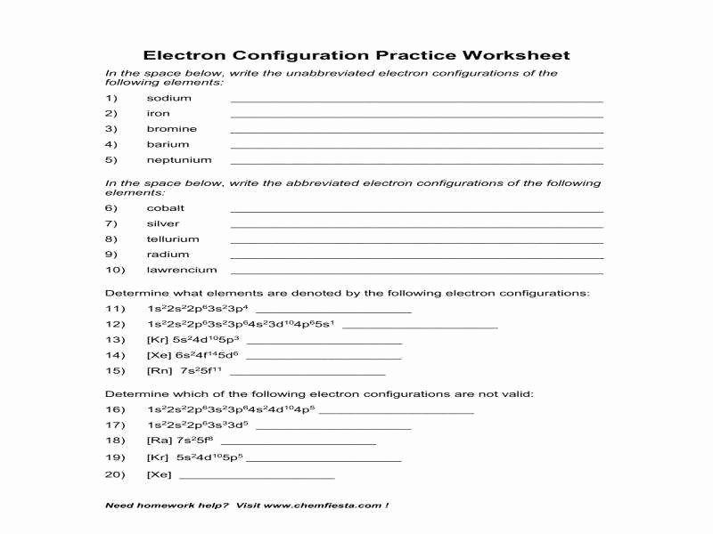 electron configuration worksheet answer key
