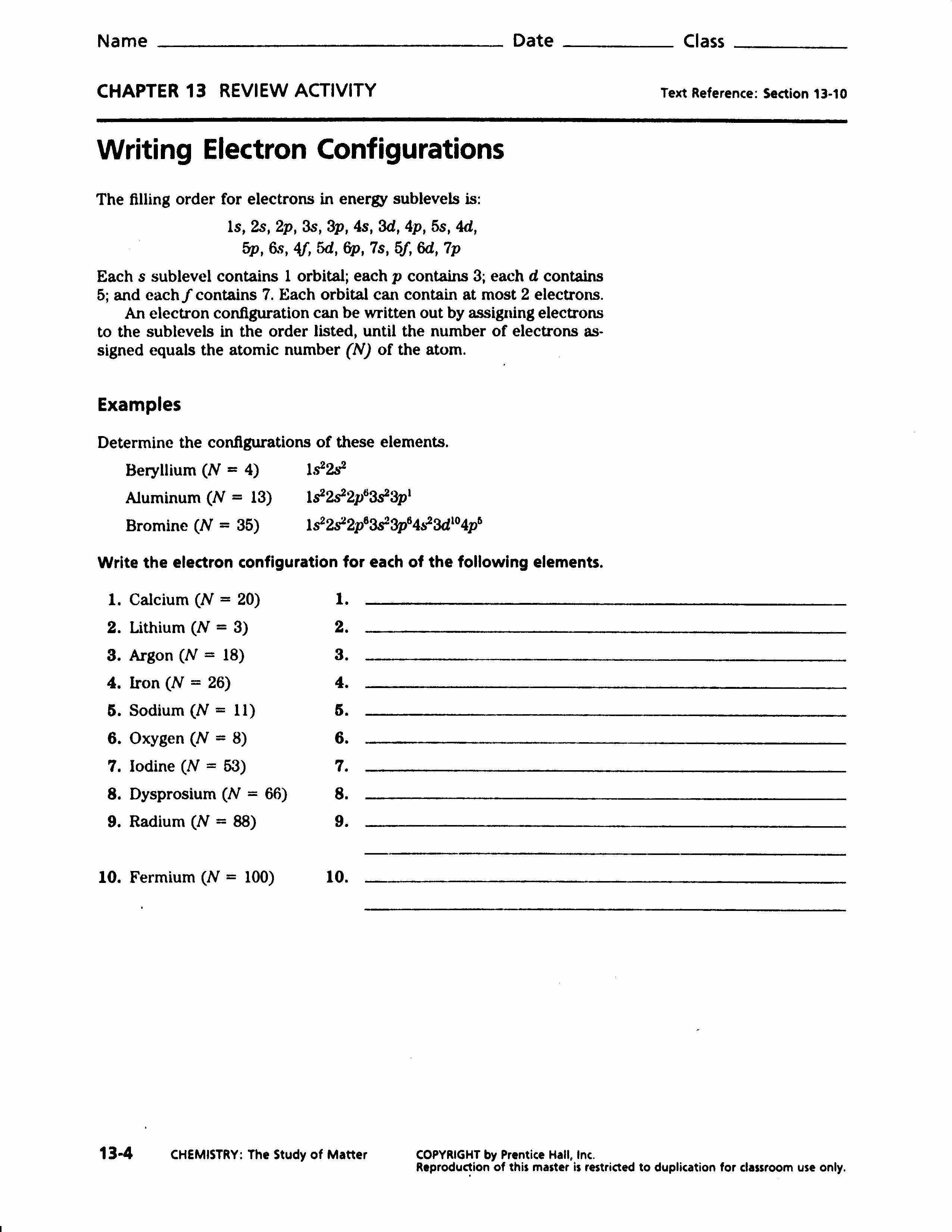 Electron Configuration Worksheet Answers Key New Electron Configuration Worksheet Answers Part A