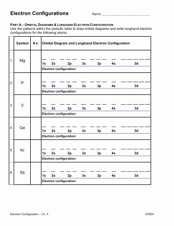 Electron Configuration Worksheet Answers New Electron Configuration Practice Worksheet