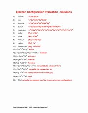 Electron Configurations Worksheet Answer Key Elegant Electron Config Worksheet solutions Name Electron
