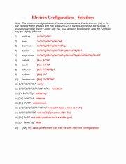 Electron Configurations Worksheet Answer Key Inspirational Electron Configuration Evaluation Key Electron