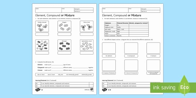 Element Compound Mixture Worksheet Beautiful Ks3 Element Pound or Mixture Homework Worksheet Activity