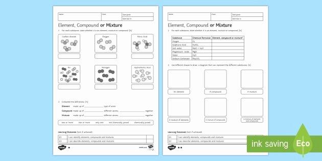 Element Compound Mixture Worksheet Unique Ks3 Element Pound or Mixture Homework Worksheet