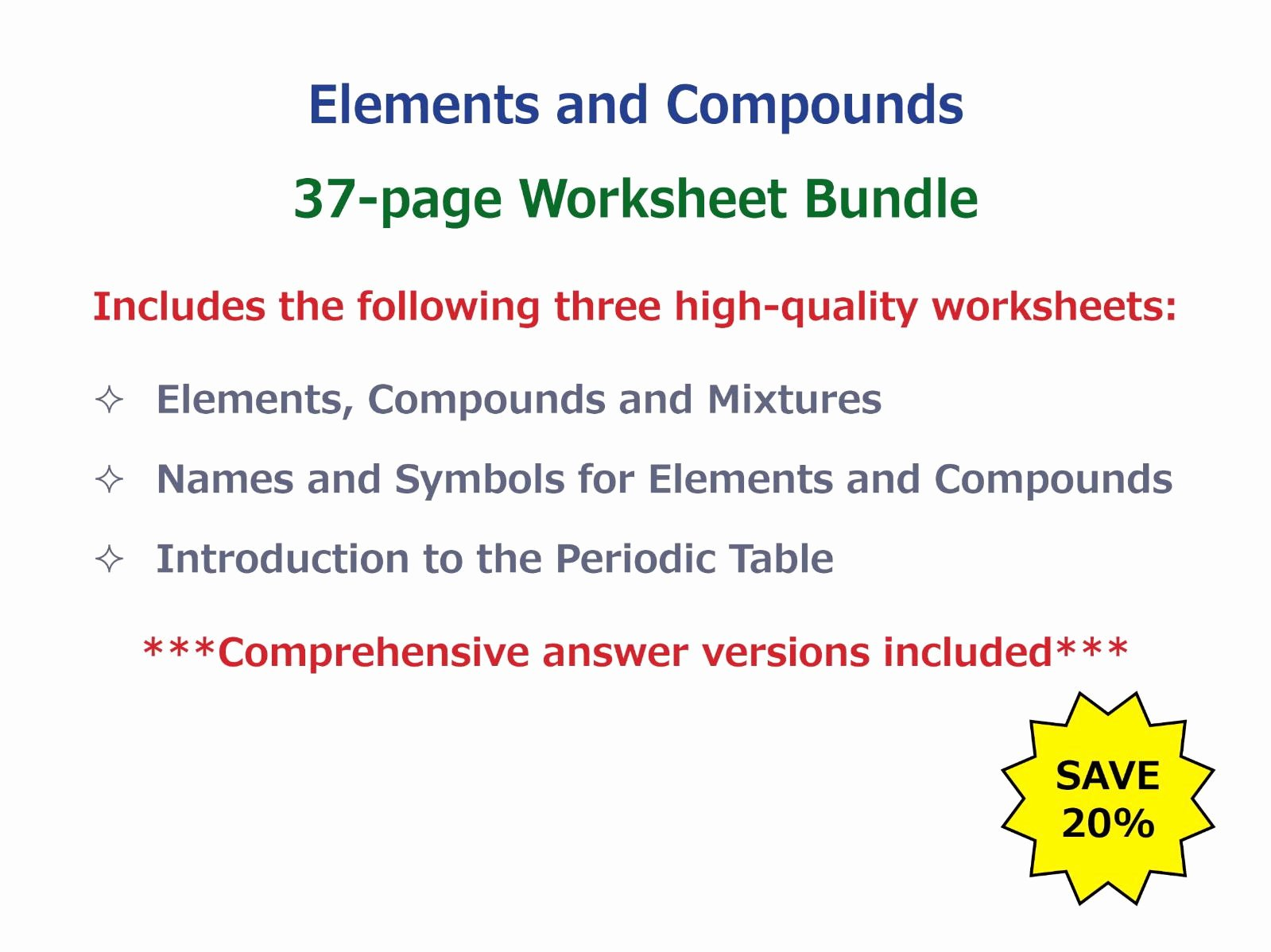 Elements and Compounds Worksheet Best Of Goodscienceworksheets S Shop Teaching Resources Tes