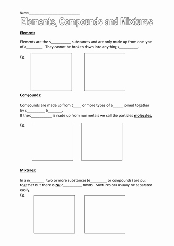 Elements and Compounds Worksheet Elegant Elements Pounds and Mixtures by Robbo 317 Teaching