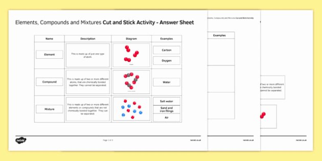 Elements and Compounds Worksheet Inspirational Elements Pounds and Mixtures Cut and Stick Worksheet