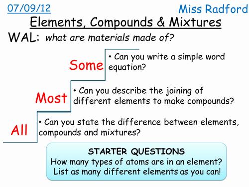 Elements Compounds & Mixtures Worksheet Beautiful C1 1 Elements Pounds & Mixtures for Sen by