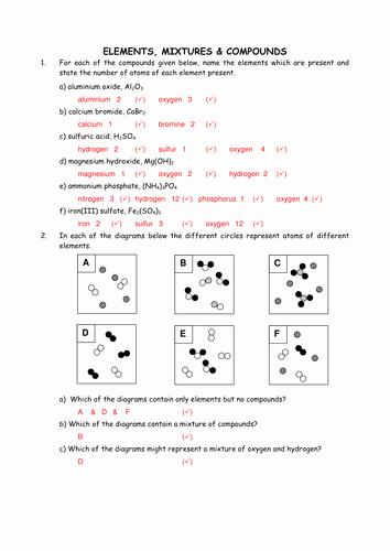 Elements Compounds & Mixtures Worksheet Best Of Chemistry Elements Mixtures and Pounds by Greenapl