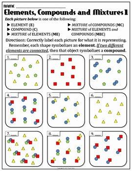 Elements Compounds & Mixtures Worksheet Unique Worksheet Elements and Pounds 1 by Travis Terry
