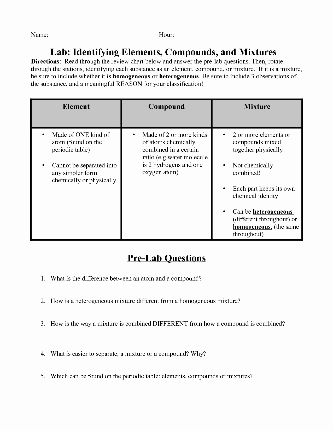 Elements Compounds and Mixtures Worksheet Inspirational 17 Best Of Elements Pounds and Mixtures