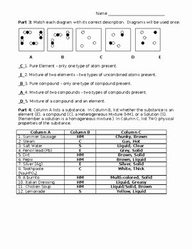 Elements Compounds and Mixtures Worksheet Luxury Elements Pounds Mixtures Worksheet with Answer Key