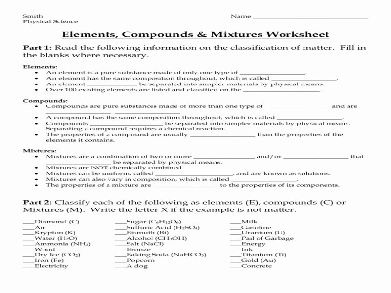 Elements Compounds Mixtures Worksheet Answers Unique Elements Pounds & Mixtures Worksheet Answers Free