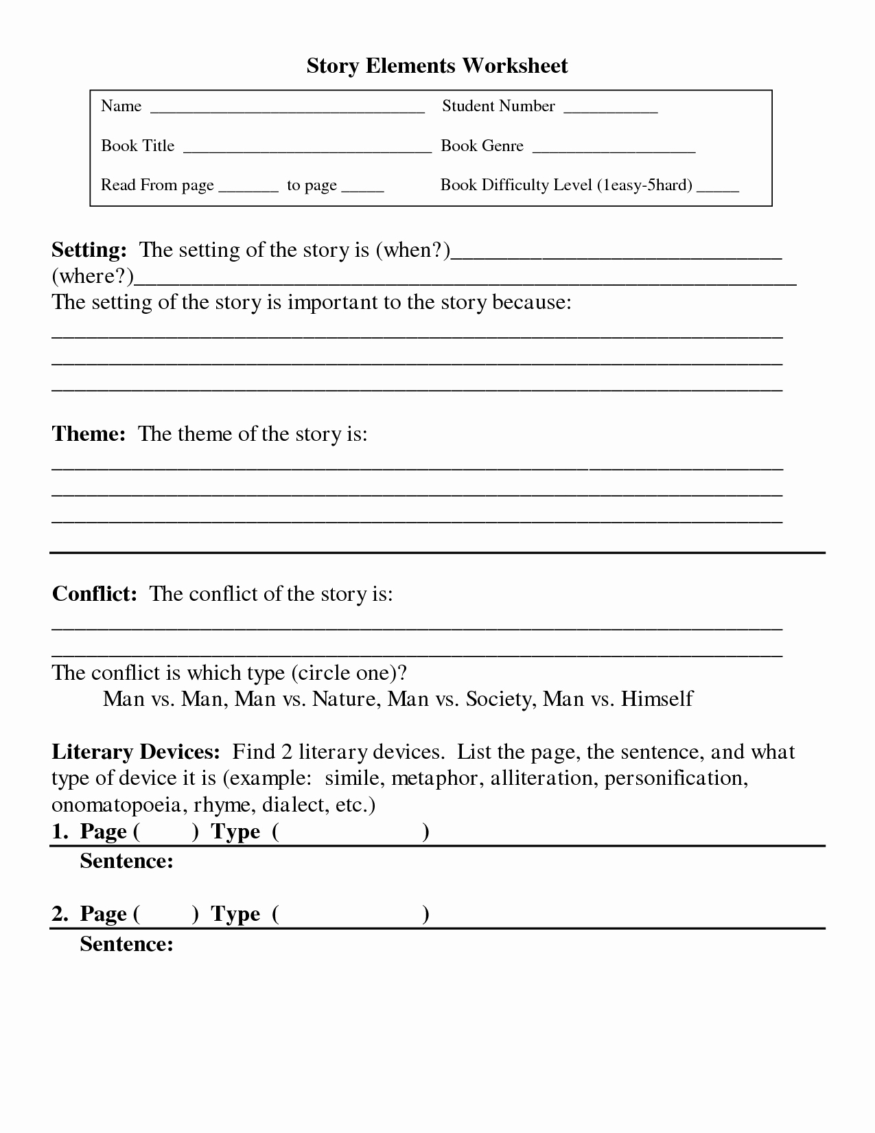 Elements Of A Story Worksheet Elegant 10 Best Of Short Story Elements Worksheet Short