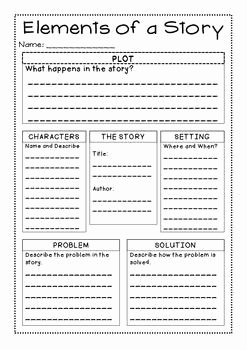 Elements Of A Story Worksheet Fresh Freebie Story Elements Graphic organizer