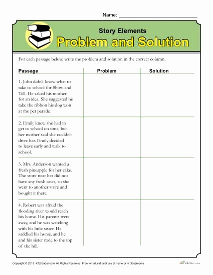 Elements Of A Story Worksheet Inspirational Story Elements Worksheet Problem and solution