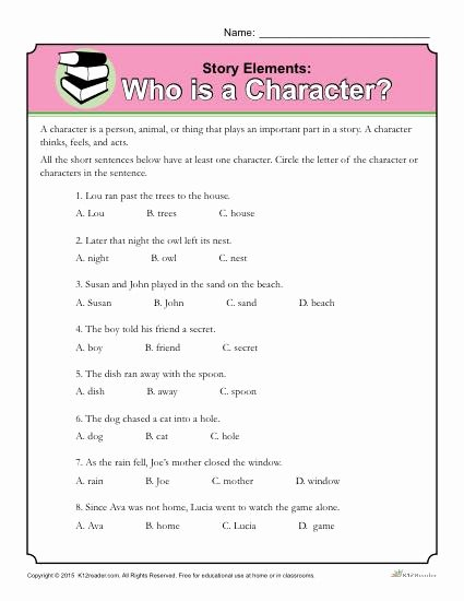 Elements Of A Story Worksheet Inspirational who is A Character