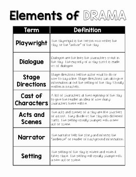 Elements Of Drama Worksheet Awesome Elements Of Drama Reading Journal Folder Resource by No