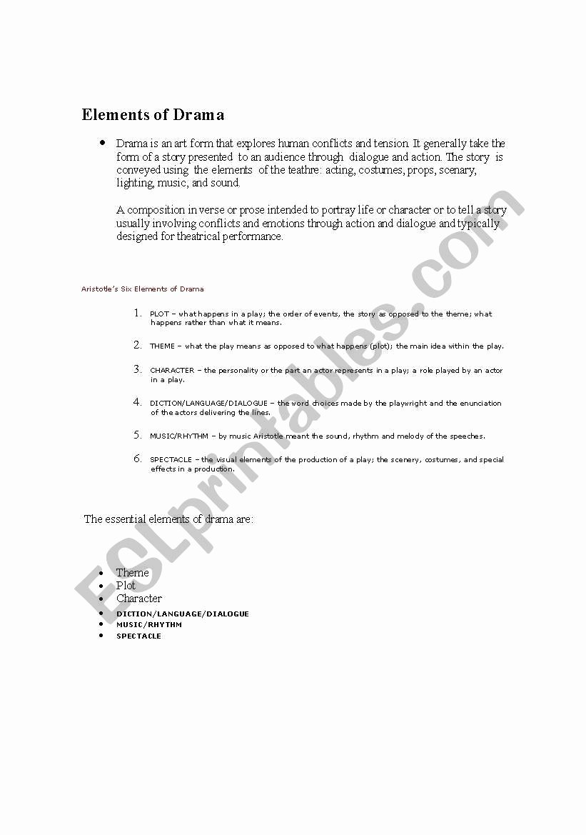Elements Of Drama Worksheet Awesome English Worksheets Elements Of Drama