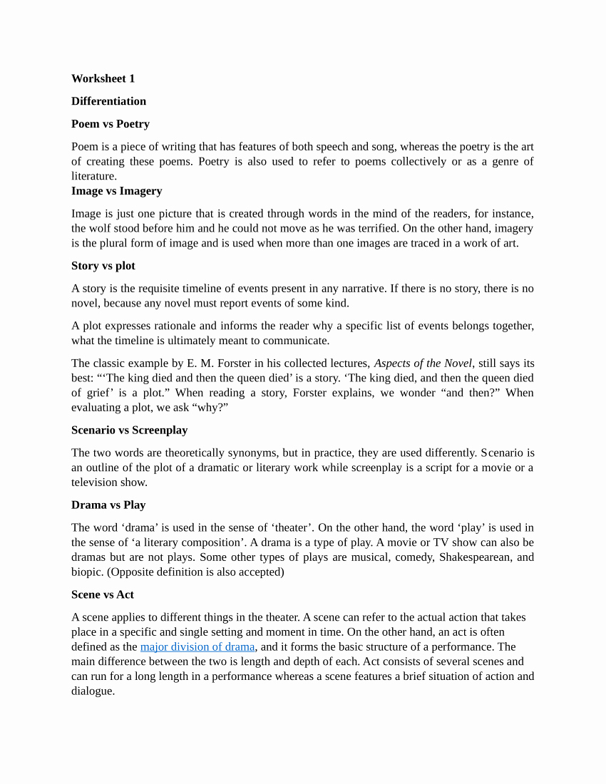 Elements Of Drama Worksheet Fresh Pdf Drama Worksheet