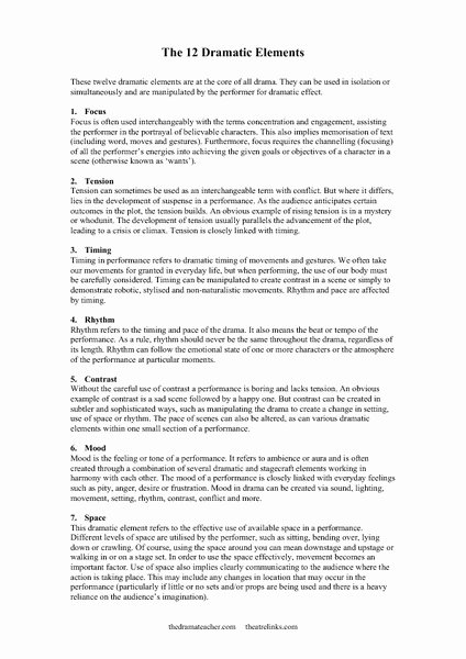 Elements Of Drama Worksheet Inspirational Elements Of Drama Lesson Plans & Worksheets Reviewed by