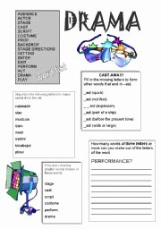 Elements Of Drama Worksheet New Drama Worksheets