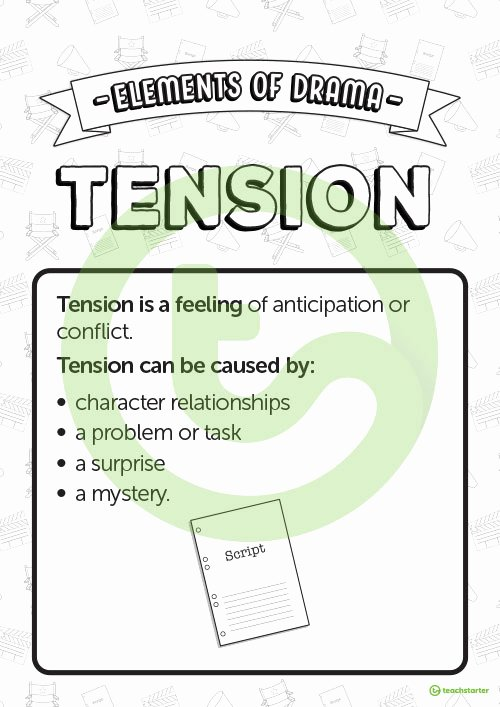 Elements Of Drama Worksheet Unique Tension Elements Of Drama Poster Teaching Resource