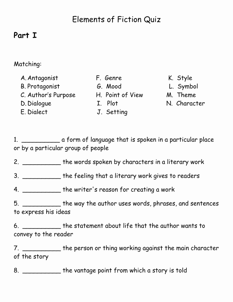 Elements Of Fiction Worksheet Fresh Elements Of Fiction Quizc