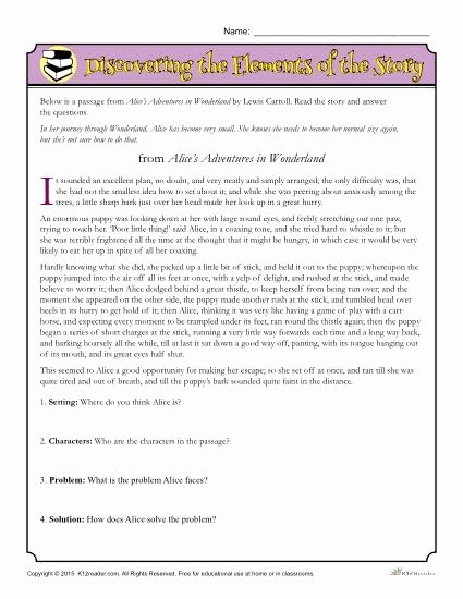 Elements Of Fiction Worksheet Lovely Discovering the Elements Of the Story
